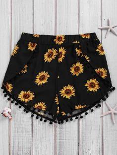 Simple Style Women's Sunflower Print Beach Shorts