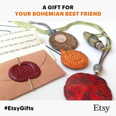 Make something special, enclose a sealed letter to your best friend's gift... just like in the olden times... Dafna Yarom PaperJewelryDesign on Etsy https://www.etsy.com/shop/PaperJewelryDesign #EtsyGifts