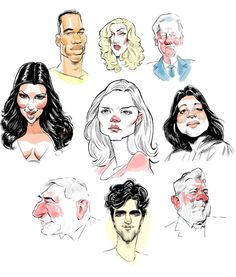 Ed Steckley spot caricatures | from the top right didier drogba lady gaga bill clinton kim kardashian ...
