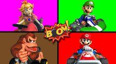 MARIO KART Surprise Egg BOMBS Learning Colors | Mario Luigi Princess Don...