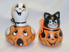 Mini Set of 2 Jack-O-Lanterns with Ghost and by FromGramsHouse