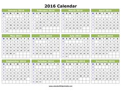 Free Calendar 2016 Printable. Download Free Printable Yearly and ...