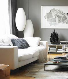 Cinza na decoração. Sala de estar cinza.