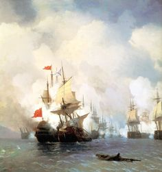 The Battle of Chios on 24 June 1770, Ivan Aivazovsky, 1848