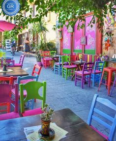 Colorful Old Town of Chania, Crete Ιsland, Greece World Of Color, Color Of Life, Outdoor Restaurant, Colourful Buildings, Outdoor Spaces, Outdoor Decor, Cafe Interior, Cafe Design, Restaurant Design