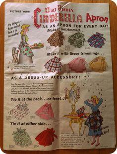 Vintage 1950 Walt Disney Cinderella Apron Sewing Pattern by J. Vintage Apron Pattern, Aprons Vintage, Vintage Sewing Patterns, Apron Patterns, Sewing Hacks, Sewing Projects, Sewing Tips, Sewing Ideas, Walt Disney Cinderella