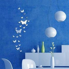 30Pcs Butterfly Silver Acrylic Mirror Wall Sticker 3D DIY Art Home Decoration