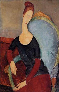 Amedeo Modigliani (1884 -1920)   Expressionism   Portrait of Jeanne Hebuterne in a Blue Chair - 1918