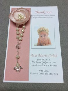 20 pcs Baptism Rosary Favor Cards/ Christening Rosary Favor Cards / Thank you Rosary cards on Etsy, $49.99