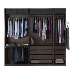 Ikea black PAX wardrobe, 98 x 22 for walk-in closet in plum & black bedroom Walk In Closet Ikea, Walk In Wardrobe, Bedroom Wardrobe, Perfect Wardrobe, Black Wardrobe, Dressing Pax, Pax Planer, Armoire Pax, Pax System