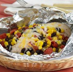 chicken breasts, black beans, grill, zesti tomato, santa fe