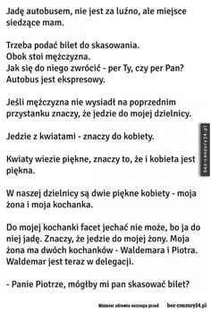 Jadę autobusem Funny Stories, True Stories, Bts Memes, Funny Memes, Polish Memes, Good Jokes, Wtf Funny, Motto, Just Love