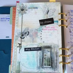Notes and To Do List Insert. My artful planner created using digital scrapbooking and mixed media products, printed and then sometimes embellished further with tangible products, doodles, drawings etc. Join the Art Journal Club on Facebook and join in on the fun!! #planners #planner #artjournal #artfulplanner #artfulplannerclub Planner Pages, Dream Big, Binder, Digital Scrapbooking, Planners, Mixed Media, Doodles, Join, Artsy