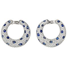 CARTIER Panthére Diamond & Sapphire Hoop Earrings
