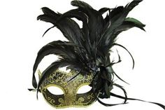 Black Masquerade Half Mask With Feathers