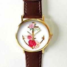 Florales de anclaje relojes del reloj para mujeres de los hombres de cuero  por FreeForme   077ba3cb8a7b