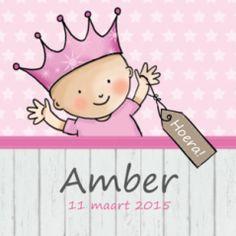 Hip geboortekaartje met zigzag vouwwijze, met vrolijk prinsesje met een kroontje op d'r hoofd. Met hip hout scherm en label.