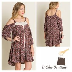 Cold Shoulder Patterned Dress Circle patterned cold shoulder dress. 3/4 sleeves embellished cream chiffon crochet details. Semi pleated details . Made of cotton blend. Can be worn as a maxi tunic B Chic Dresses Maxi