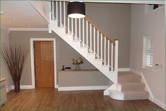 Scatterdells Lane Staircase: cut string softwood flight of stairs. Staircase Spindles, Timber Handrail, Stair Spindles, Oak Stairs, Curved Staircase, Staircase Ideas, House Stairs, Carpet Stairs, Hallway Designs