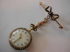 Antique 18k Gold, Enamel & Pearl Fob Watch   c.1905