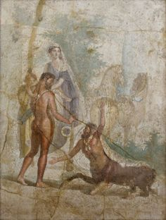 Hercules carrying his son Hyllus looks at the centaur Nessus, who is about to carry Deianira across the river on his back; 1st c. AD Pompeii