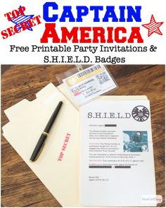 Download these Captain America Printable Party Invitations and  S.H.I.E.L.D. badges at AttaGirlSays.com plus find lots of other great Captain America party ideas