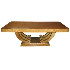large art deco diningcenter table in highly figured golden flame birch art deco dining arm