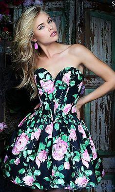 712cd69f219 Short Sherri Hill A-Line Floral Print Strapless Dress Sherri Hill Prom  Dresses Short