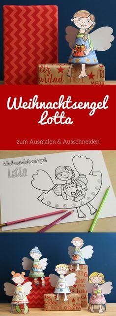 Basteln mit Kindern in der Weihnachtszeit: Fünf Engel aus Papier zum Ausmalen und Ausschneiden als PDF - Vorlage zum Ausdrucken: Weihnachtsengel Lotta #Weihnachtsengel