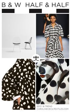 B&W HALF & HALF trend inspiration for 2017 / 2018 from #carolinececiltextiles | trend | color | aw17 | fashion trends | black and white | trend inspiration | textiles | mood board | geometric prints | color trend | pattern | textile trend | SS17 | SS18 | adam lippes | tome | nyfwss17 | nyfw | fashion week