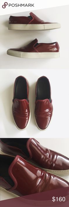 Common Projects • slip ons Slip on sneakers in burgundy. Have been worn a handful of times, I'm a 7½ and these are an 8 but they fit me too big, would suggest for an 8-8½. Creasing on the leather and slight wear on soles but still in wonderful condition. Common Projects Shoes Sneakers