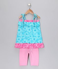 Take a look at this Turquoise Floral Tunic & Leggings - Infant, Toddler & Girls by Sweet Harts on #zulily today!