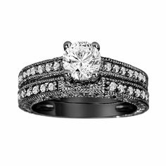 GIA Certified Diamond Engagement Ring And Wedding Band Sets 14K Black Gold 1.31 Carat Vintage Antique Style Engraved handmade