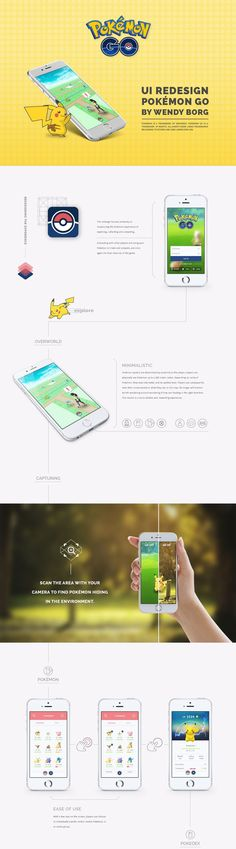 One disgruntled Pokemon Go fan has given the app's UI a complete overhaul - and it looks painfully brilliant. Web Design, Layout Design, Web Layout, Graphic Design, Interface Design, User Interface, Apps, Mobile Design, Layout Inspiration