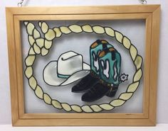 Stained Glass Window Panel Cowboy Boots Hat Rope Open Windows Salida Colorado | eBay