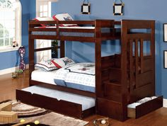 Twin/ Twin Bunk Bed With Drawers Ellington Collection Cm-Bk612 Built-in steps and drawers make this bunk bed a perfect upgrade to your child's bedroom.  Bunk Bed Sale For $610