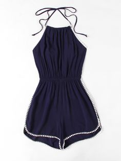 Material: Polyester Color: Navy Pattern Type: Plain Neckline: Halter Style: Sexy, Vacation, Elegant Sleeve Length: Sleeveless Fabric: Fabric has no stretch Season: Summer Bust(Cm): Waist Size(Cm): Hip Size(Cm): Thigh(Cm): Length(Cm): Size Available: S,M,L Rompers For Teens, Cute Summer Rompers, Cute Rompers, Rompers Women, Jumpsuits For Women, Rompers Dressy, Teenage Outfits, Teen Fashion Outfits, Outfits For Teens
