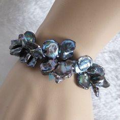 "8"" 9-15mm Peacock Keshi 2Row Freshwater Pearl Bracelet Pearl Jewelry  #PearlZone #StrandString"