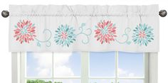 Window Valance Curtain For Sweet Jojo Design Girl Turquoise Coral Flower Bedding 846480034223 Floral Curtains, Valance Curtains, Window Valances, Curtain Panels, Sheer Curtains, Design Girl, Bed Design, Kids Window Treatments