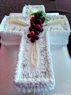 Primera Comunión Boy Baptism Centerpieces, Communion Centerpieces, First Communion Decorations, Baby Shower Sheet Cakes, Shower Cakes, Beautiful Cakes, Amazing Cakes, Vanilla Layer Cake Recipe, First Holy Communion Cake