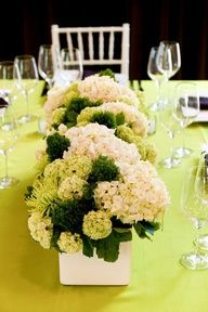 I like this idea for the head table - wedding colors obviously