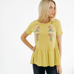 Embroidery on a casual t-shirt top? We are in love! This peplum is made of a super soft t-shirt type of material which makes it perfect because you can dress it up or dress it down. The embroidery is beautiful and has the best Spring colors. Get her before she's gone!#journeyfive