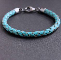 Turquoise Leather Braid Bracelet Sterling Silver Clasp