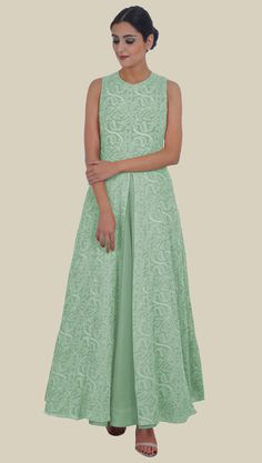 Sage Green Hand Embroidered Chikankari Pure Georgette Anarkali