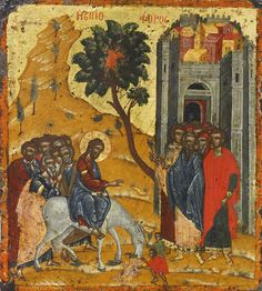 Detailed view: Entry into Jerusalem- exhibited at the Temple Gallery, specialists in Russian icons Images Of Christ, Religious Images, Religious Icons, Religious Art, Byzantine Icons, Byzantine Art, Tribe Of Judah, Russian Icons, Orthodox Icons