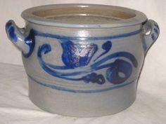 Antique Stoneware Westerwald Crock Low Blue Decorated German Pottery Handles