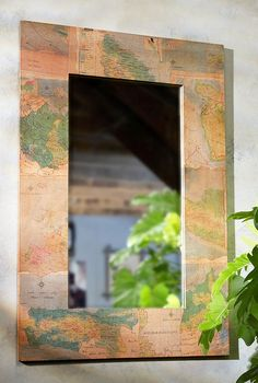 Fair Trade Mirror Handmade with Recycled Maps // Gift For Traveler // Explore // Wanderlust