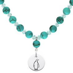 Theta Phi Alpha Symbol Turquoise Necklace With Circle Charm