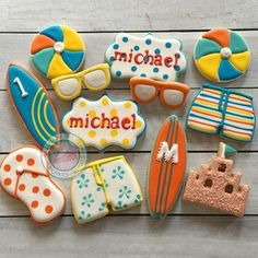 Pictured above: cookies by @sugarysweetcupcakesandtreats using our sand castle, sunglasses, surfboard, and board shorts cookie cutters!