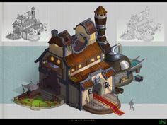 The blacksmith's shop, Torri Lion on ArtStation at https://www.artstation.com/artwork/the-blacksmith-s-shop